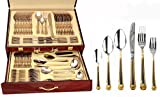 Venezia Collection 'Greek' 75-Piece Fine Flatware Set, Silverware Cutlery Dining Service for 12, Premium 18/10 Surgical Stainless Steel, 24K Gold-Plated Hostess Serving Set with Wooden Storage Case