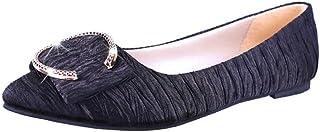YOPAIYA Pisos Zapatos Mujer señaló la convergencia Inferior Suave Arruga Hebilla metálica Calzado Casual Mujeres Mocasines Zapatos cómodos
