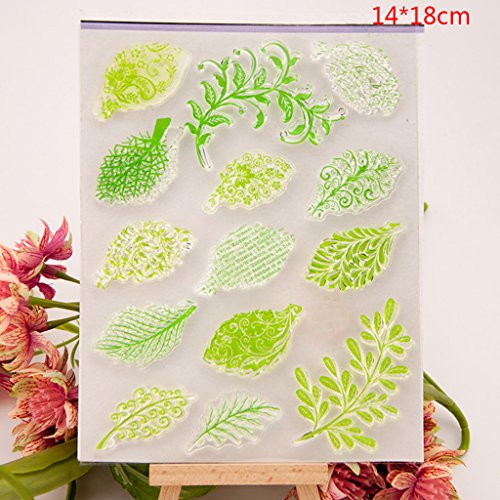 Shoresu Leaf Clear Stamps Sheets Transparent Silicone Seal for DIY Scrapbooking Craft Card Photo Album Decorative 14x18cm/5.51x7.08