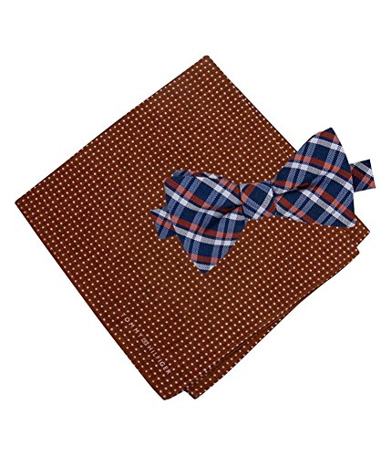 Tommy Hilfiger Men's Grid and Dot Pre-Tied Bow Tie and Pocket Square Set, Orange, One Size (Tommy Hilfiger Set Tie)