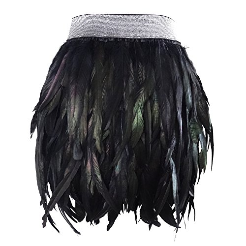 L'VOW Women' Real Natural Feather Mid Waist Black Mini A-line Skirt (M(8))