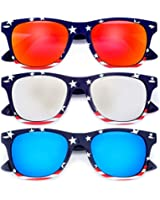 MJ Eyewear Patriotic USA American Flag Red White and Blue Color Sunglasses Combo Pack