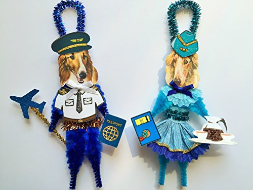 Borzoi PILOT & STEWARDESS ORNAMENTS Vintage Style Chenille Ornaments Set of 2