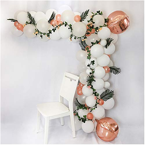 Luvier White and Rose Gold Organic Balloon Garland Arch Kit / 117pcs Latex/Confetti/Foil Balloons with Balloon Tools/Perfect for Birthday Party/Wedding/Baby Shower/Graduation (White-Rose Gold)