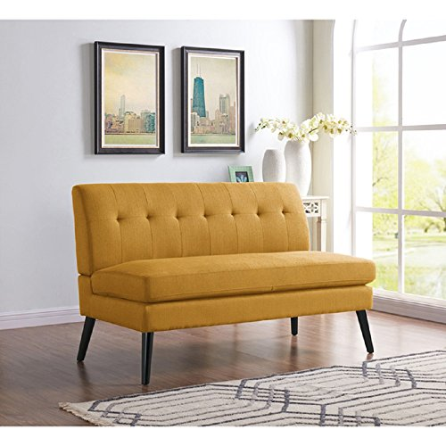 Modern Mid-Century Loveseat, Linen Upholstered Living Room Sofa Armless Chair, 34.3H in x 55.1W in x 30.5D in, Square Back w/ Lace Tufted Design & Thick Foam Seat Cushion – Mustard Yellow + Free Ebook