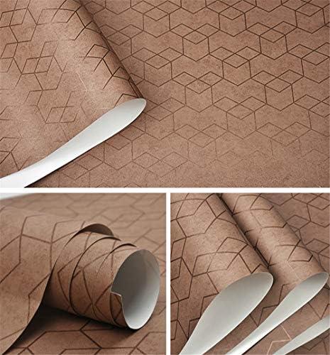 壁紙 ダークグレーラグジュアリー幾何学的な壁紙ロール、ブラックグレーウォールペーパー、モダンなデザインのベッドルームリビングルームの背景の家の壁の装飾、ない自己接着剤 (Color : Brown, Dimensions : 10mx53cm)
