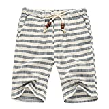 LETSQK Men's Plus Size Striped Linen Volley Swimwear Surf Swim Trunks