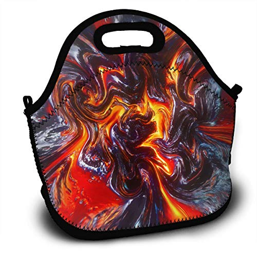 (NBXIXI Lava Colorful Psychedelic Pigment Splash Lunch Bags with Shoulder Strap Multi-Purpose Bento Boxes Insulated and Reusable Tote Bag for Youth)