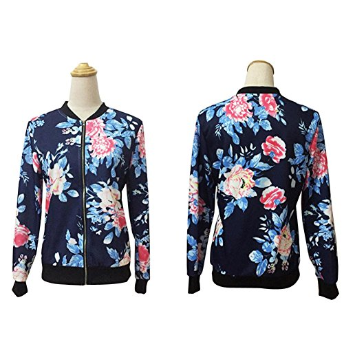 Bleu Up Floral Flowers Ladies Jacket M Bomber Womens CYBERRY Zip Print qSvUTnZ