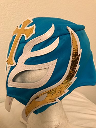 [REY MYSTERIO kids size light blue WRESTLING MASK NACHO LIBRE MASK] (Childrens Nacho Libre Costume)