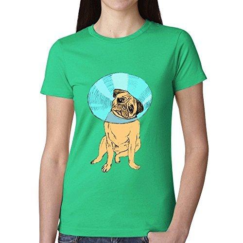 (Charles Cheek Pug With Bucket Head Women's Music O Neck T Shirts Green)