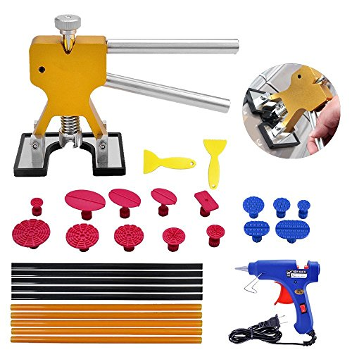 Yoohe Paintless Dent Repair Tools Kit - Gold Dent Lifter with 15pcs Dent Removal Pulling Tabs Suction Cup Plate Hot Melt Glue Gun Pro Glue Sticks (Best Paintless Dent Repair Tools)