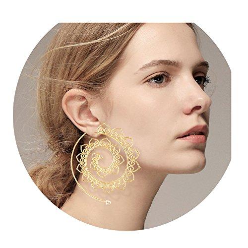 Sundear Vintage Bohemian Spiral Earring Circles Round Tribal Hoop Earrings (Big Heart loops)