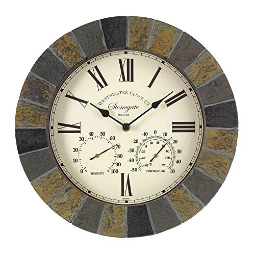 """Outside in Stonegate Wall Clock and Thermometer in Dark Stone Effect 35cm / 14"""" Indoor Outdoor Weatherproof"""