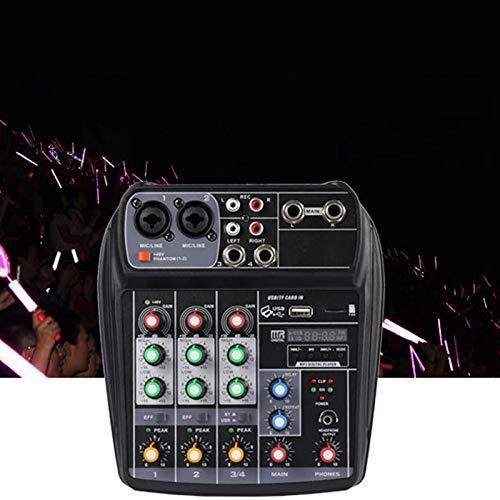 SODIAL Portable Audio Mixer A4 Mixing Console Recording 48V Phantom Power Effect 4-Channel Audio Mixer Us Plug
