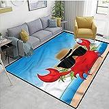 Living Room Area Rug,CrabsCrustacean Sunglasses Hat,Children Bedroom Rugs