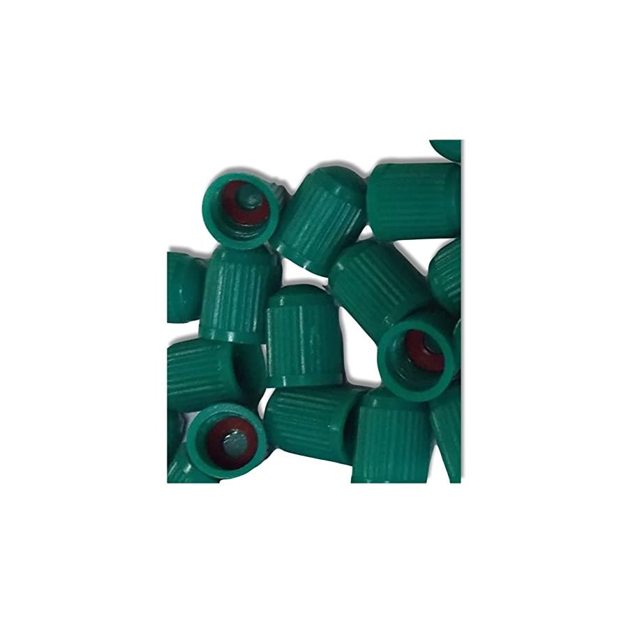 """(12 Count) """"Classic Simple with Easy Grip Texture""""Valve Stem Dust Cap Seal Made of Hardened Rubber {Spring Honda Green Color Hard Plastic Internal Threads for Easy Application Rust Proof }"""