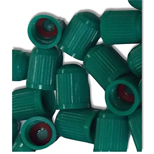 "(12 Count) ""Classic Simple with Easy Grip Texture""Valve Stem Dust Cap Seal Made of Hardened Rubber {Spring Honda Green Color Hard Plastic Internal Threads for Easy Application Rust Proof }"