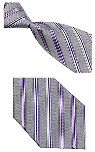 (Men's 100% Silk Handmade Classic Jacquard Necktie (Silver-Gray with Diagonal Stripes))