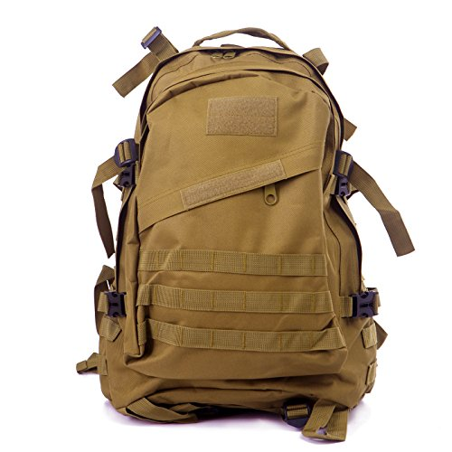 Explorer Adventure Backpack (HDE Military Tactical Assault Army Backpack Rucksack 35L Molle Bug Out Daypack Bag for Camping Hiking Trekking Hunting Sports (Tan))