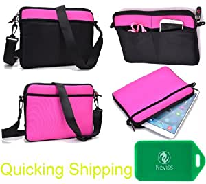 """2 in 1 neoprene sleeve/messenger bag-Accessory pockets- Shoulder strap included- Black/ Magenta fits Azpen A721 (7"""" Dual Core Android 4.2)"""