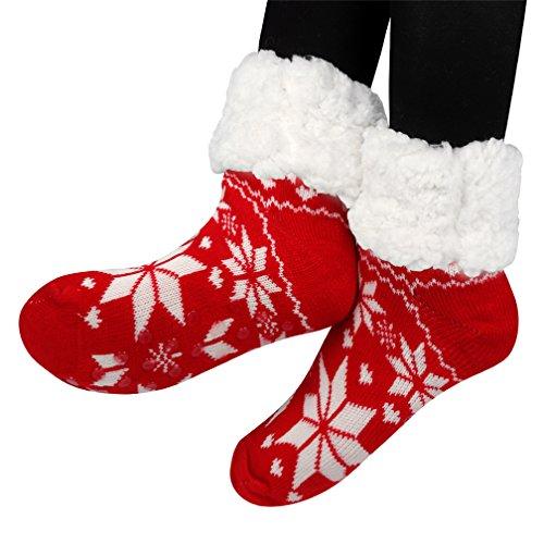 Pantoufle avec Rouge Noël Chaussettes Antidérapantes douce Laine polaire d'hiver Chauds Femme Thème Chaussons en Prises Douillets Avec doublure 8ITqS7