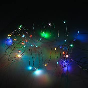 SINOLLC 5M 50LEDs Mullti-Color Changing Flexible LED Copper Strings Light AA Battery Operated LED Silver Wire Multi-color Starry Copper Wire