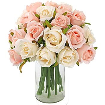 CEWOR 2 Packs Artificial Rose Flowers 12 Heads Silk Flowers Rose Bouquet for Home Bridal Wedding Party Festival Decor (Champagne)