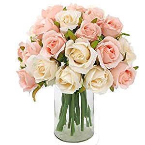 CEWOR 2pcs Artificial Flowers Silk Flowers Artificial 12 Heads Rose Bouquet for Home Bridal Wedding Party Festival Bar Decor (Champagne-Colored) 91
