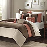 Madison Park Palisades Queen Size Bed Comforter Set Bed In A Bag - Coral, Brown, Pieced Stripe – 7 Pieces Bedding Sets – Micro Suede Bedroom Comforters