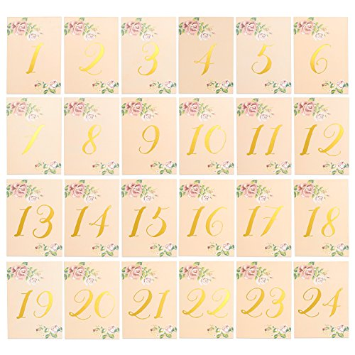 Blue Panda Table Numbers 1-24 – 24-Piece Set of Number Signs, Vintage Garden Wedding Table Cards for Guests, Dinner Party Supplies, Gold Foil Design, 350 gsm, 4 x 6 inches (Place Silver Pair Card Holders)