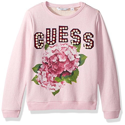 GUESS Girls' Big Crewneck Graphic Pearl Embellished Long Sleeve Fleece, Pink/Grey Melange, 7 ()