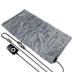 """Sooswel Far Infrared Heating Pad for Moist and Dry Heat Therapy, 14""""*26""""King Size Electric Heating Wrap with LCD Controller for Back,Neck,Shoulder,Knee Pain Relief"""