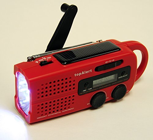 topAlert MD-019 Emergency Solar Hand Crank Weather Alert Radio by topAlert