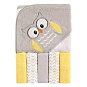 Luvable Friends Hooded Towel and 5 Washcloths, Owl
