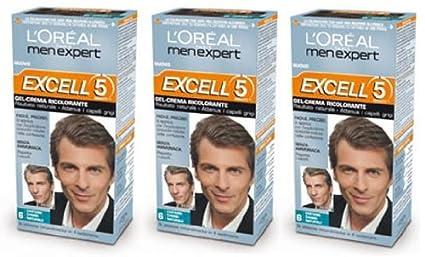 3 x l oréal paris Loreal men Expert Excell 5 Cabello Tinte Permanente Natural