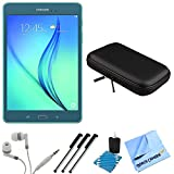 Samsung Galaxy Tab A SM-T350NZBAXAR 8-Inch Tablet (16 GB, Smoky Blue) Bundle includes Tablet, Headphones, Sleeve, 3 Stylus Pens, Lens Cleaning Kit and Micro Fiber Cloth