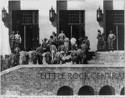 Photo  Escorted Federal Troops Little Rock Nine Enter Front Door Central High School