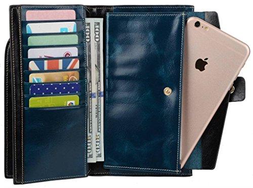 YALUXE Women's Wax Genuine Leather RFID Blocking Clutch Wallet Wallets for Women Blue by YALUXE (Image #4)