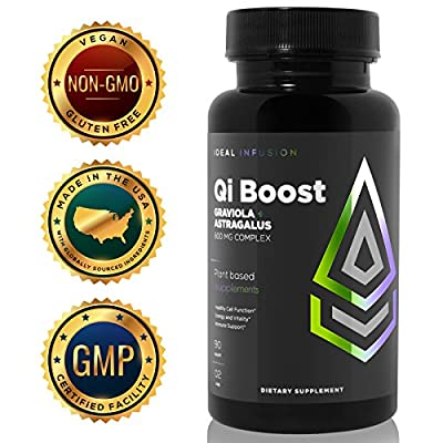 Qi Boost by Ideal Infusion- Highest Potency Immune Booster, Premium Graviola & Astragalus, Anti Viral and Anti Parasitic Support, Herbal Adaptogen, Natural Energy. Non-GMO, Gluten Free, 45 servings