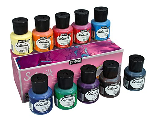 Pebeo 269000 Setasilk Silk Painting Set, Cardboard Box of 10 Assorted 45-Milliliter Jars