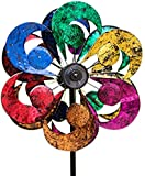 """Plow & Hearth 54345 Gala 4 Blade Solar Powered Outdoor Garden Wind Spinner Sculpture with LED Lights, 24"""" x 20.75"""" x 84"""", Multicolor"""