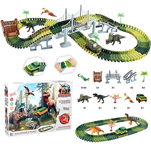 YASSUN Jurassic World Children's Rail Car Toy, Dinosaur Assembled Rail Car Set, Multi-Function Free Combination Spelling, DIY Roller Coaster Track Toy