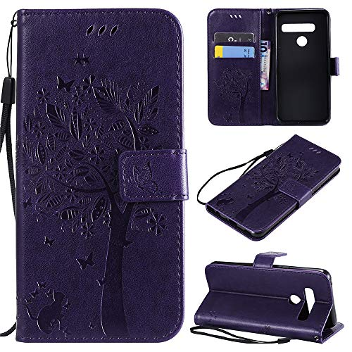 LG G8 Case, MEUPZZK LG G8 ThinQ Flip Case, Premium Leather Wallet Embossed Floral Tree Cat Case with Kickstand Flip Cover Credit Card Slots Holder Case for LG G8 ThinQ/LG G8 (Purple)