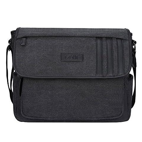 S-ZONE Retro Lightweight Canvas Messenger Bag Travel Shoulder Bag 14.1