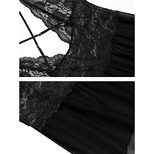 Scollo V le donne a biancheria trasparente Halter lingerie pizzo della per lingerie vestaglia di Bikini Nero bamboletta Sexy ouvert pCqEdq