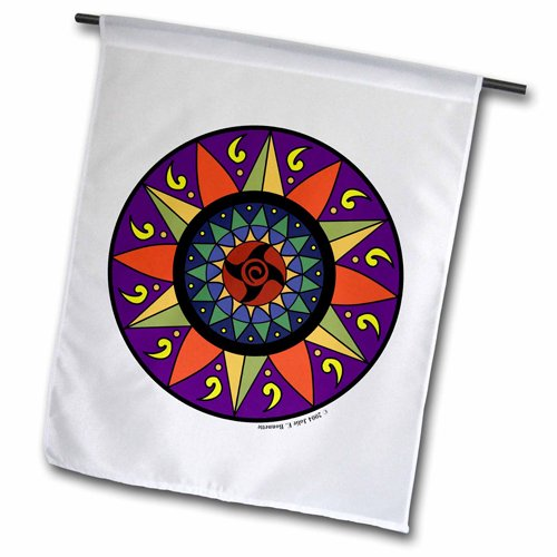 3dRose fl_23187_2 Hex Sign 2 Pennsylvania Dutch Luck Protection Symbol Garden Flag, 18 by 27″ For Sale
