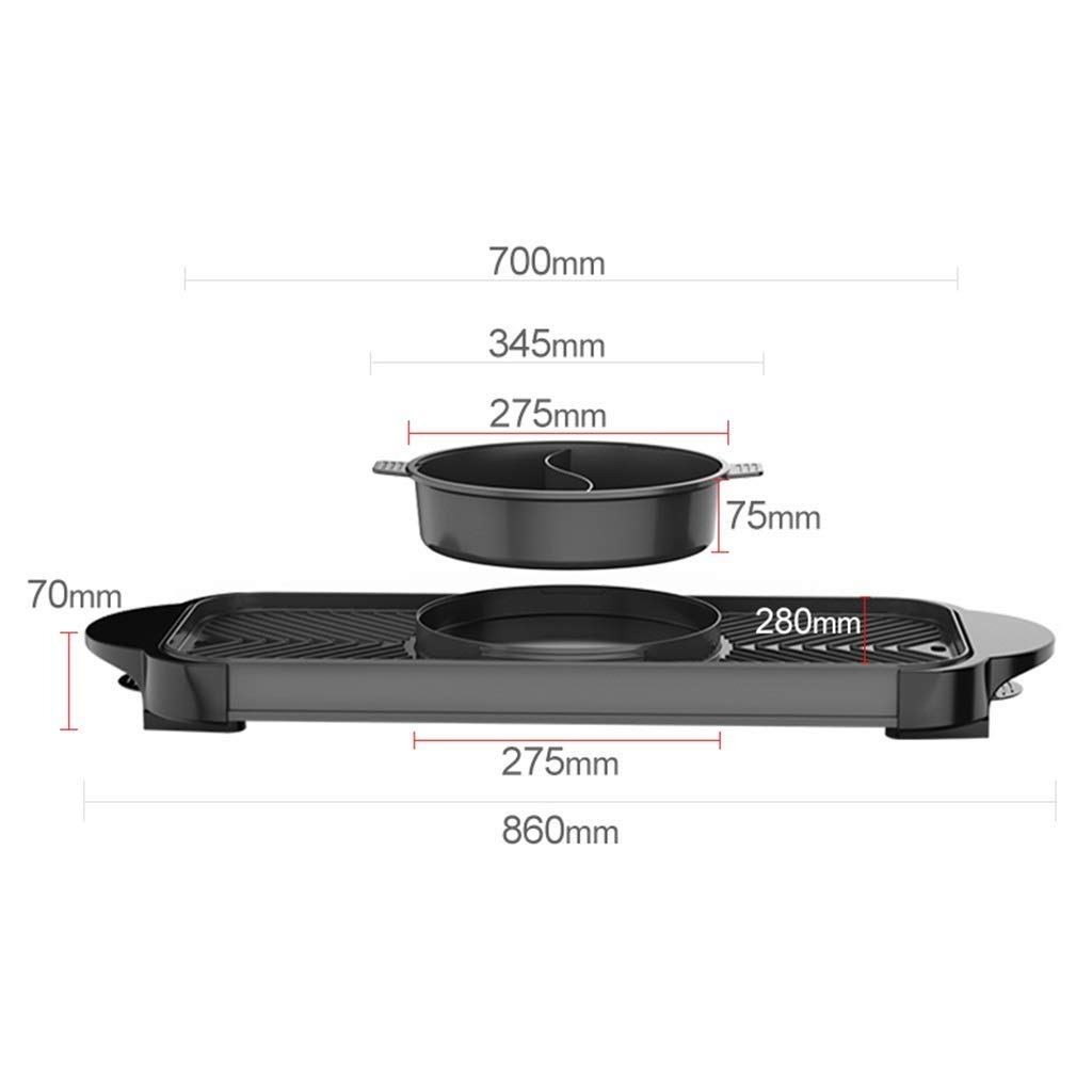 Yyqthg Barbecue Pot Double-Controlled Barbecue Hot Pot Multi-Function Frying and Cooking Korean Household Smoke-Free Non-Stick Electric Hot Pot Separable Shabu-shabu