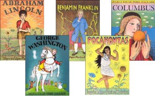 Set of Illustrated D'Aulaire biographies: Benjamin Franklin, Abraham Lincoln, Pocahontas, Columbus, George Washington