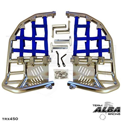 Honda TRX 450R (2004-2009) Propeg Nerf Bars Silver Bars w/Blue Net